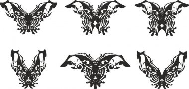 Ornamental butterfly wings tattoo set. Black on White. Butterfly silhouettes for holidays and events, logos, decoration, emblems, embroidery, cards, prints on T-shirts, textiles, wallpaper, etc.