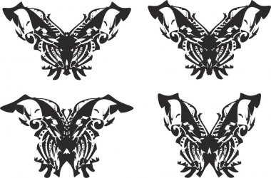 Black and white ornamental butterfly wings set. Butterfly silhouettes for holidays and events, logos, tattoos, emblems, embroidery, cards, prints, textiles, wallpaper, etc.