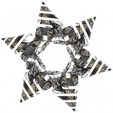 Detailed decorative star symbol with animal and floral pattern in dark colors on white. Futuristic symbol 3D stars for your creative ideas, holidays and events, prints, textiles, wallpaper, etc.