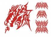 Fotografia Testa di Drago tribale con un elementi di drago e bocca aperta