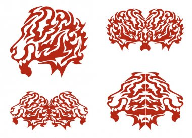 Tribal flaming lion head and lions elements