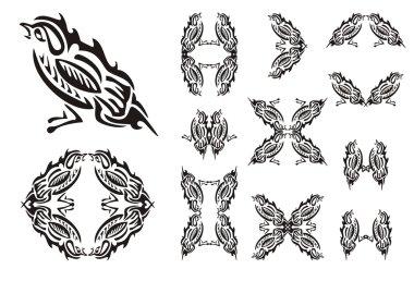 Tribal sparrow and sparrows symbols