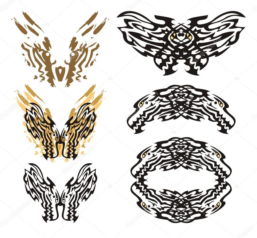 Mariposa tribal de dragón llameante y el roundish dragon marco ...