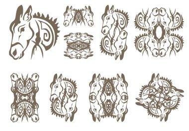 Donkey symbols in tribal style