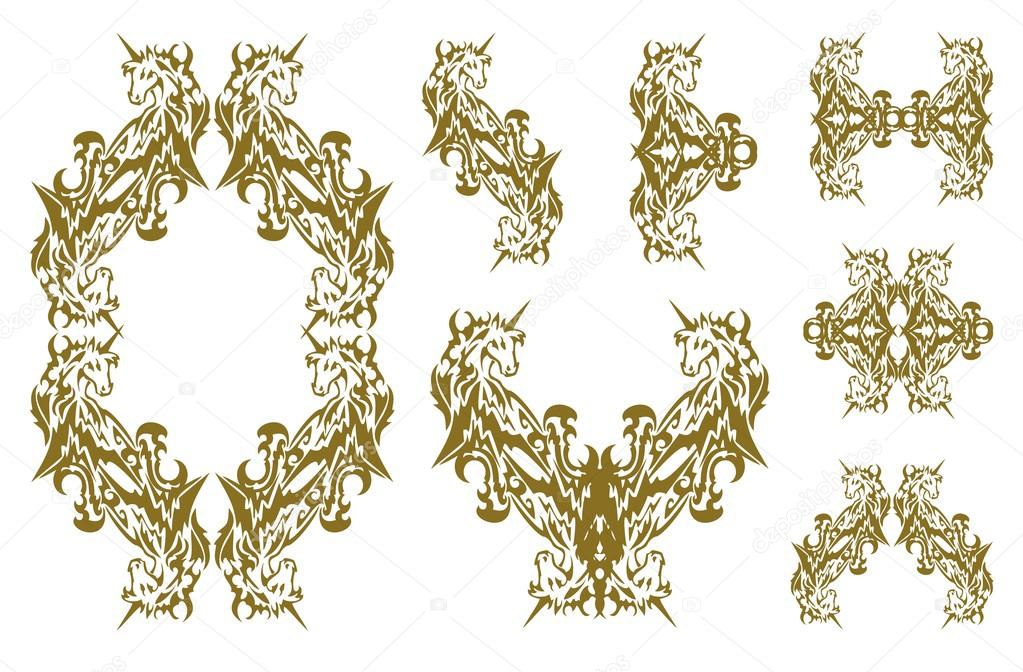 tribal decorative golden unicorn symbols stock vector lion21
