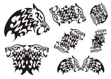 Tribal wolf symbols. Black on the white