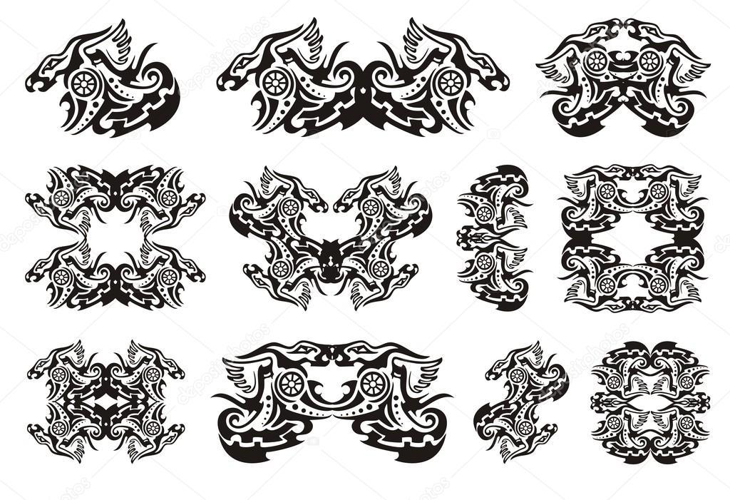 Tribal dragon symbolen met cirkel — Stockvector © lion21 #86451702