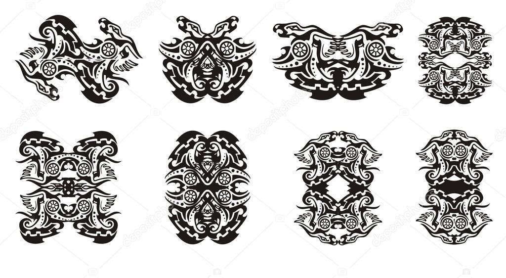 Tribal dragon frames en dubbele draak zingt met cirkel — Stockvector ...