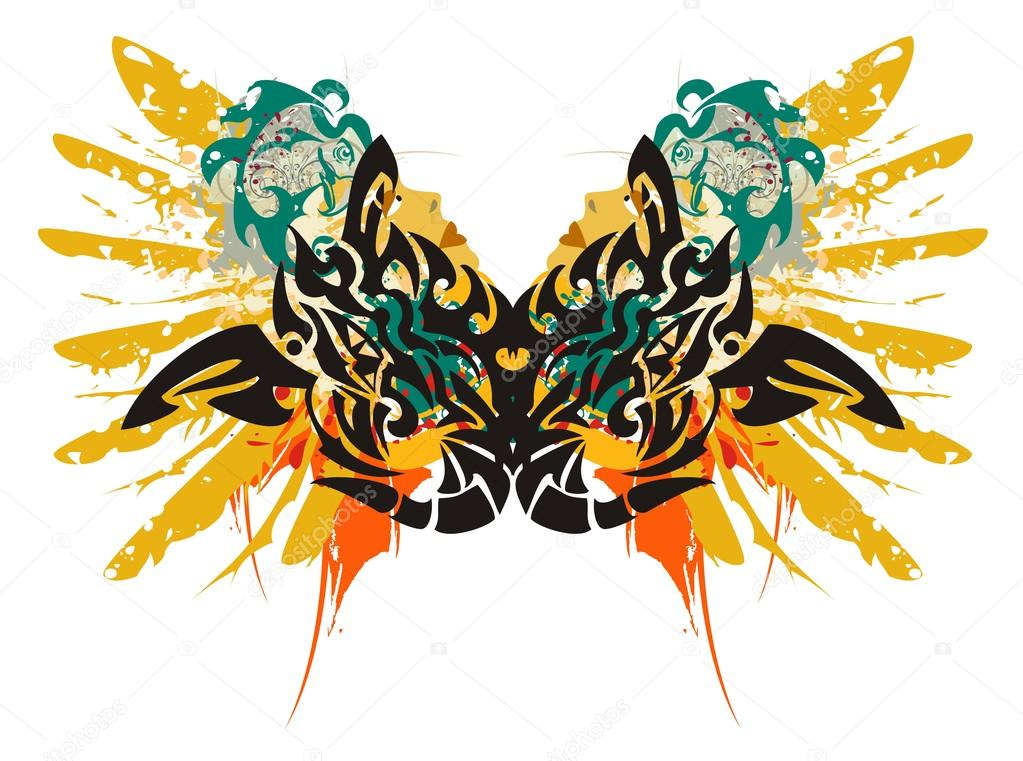 97897e3ed Grunge double dragon symbol - splashes in a woman's face with the head and  a wing of an eagle in tribal style — Vector by lion21