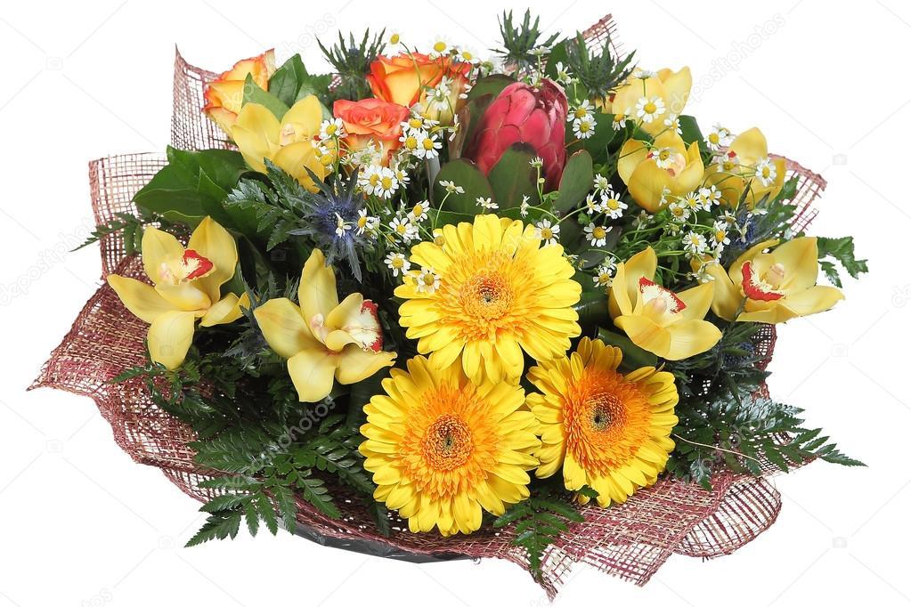 Floral arrangement flower bouquet of yellow gerberas, pale yellow orchids