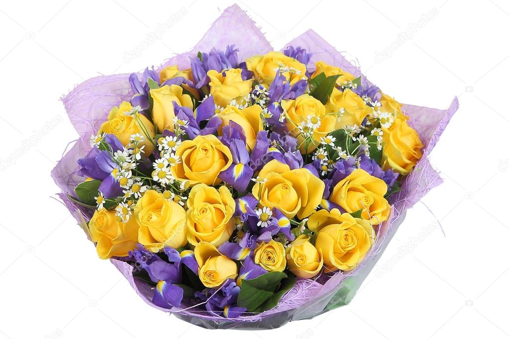 Design bouquet of yellow roses and blue orchid, on white.