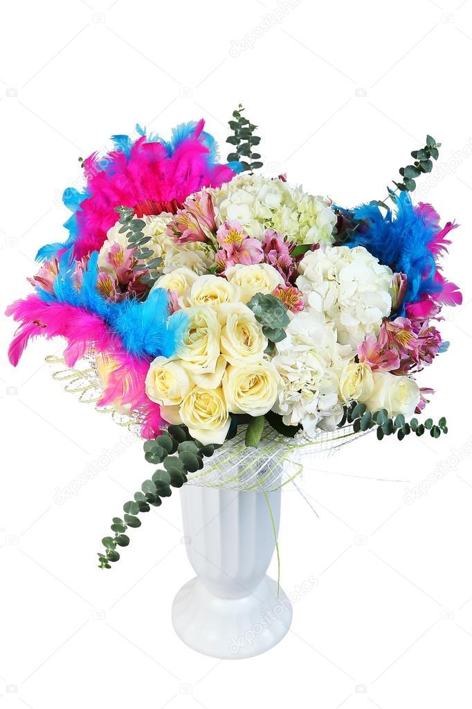Blumen Bukett, Blumen Arrangement mit cremefarbenen Rosen und ...