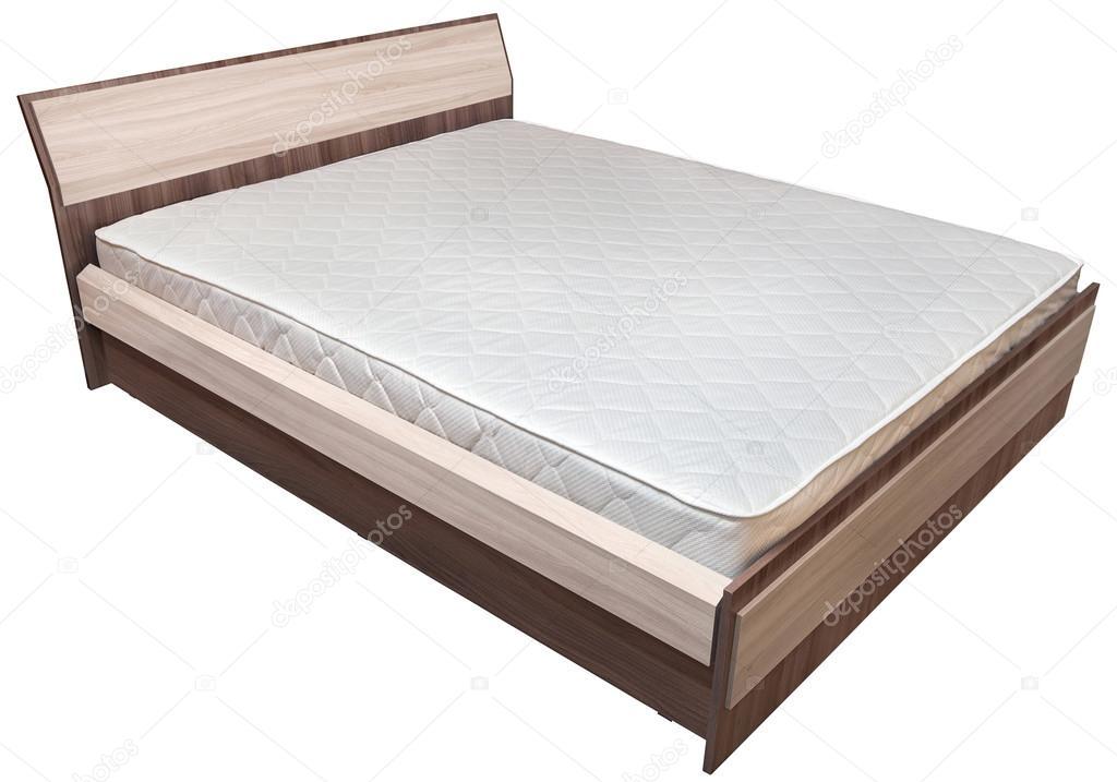 Telaio del letto in legno king size con materasso a molle, su bianco ...