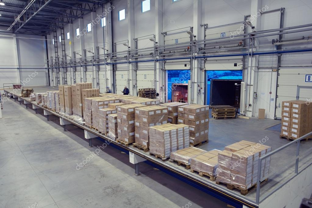 Unloading System Inside Warehouse Doors Loading Dock