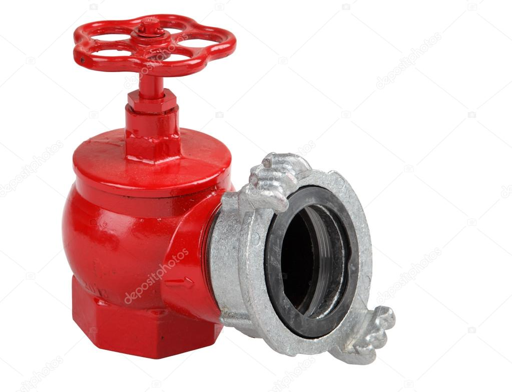 Iron hydrant valve with socket for connection of fire hose.