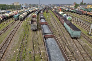 Carriages of freight trains on commercial railway, St. Petersburg.