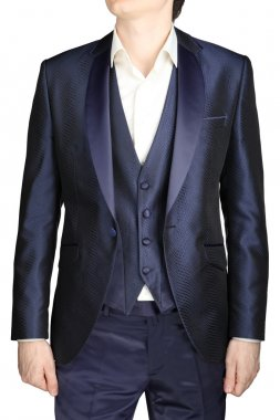 Unfastened navy blue weddings grooms attire, jacket suit, waistcoat