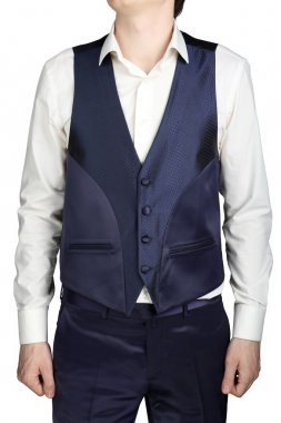 Blue waistcoat for men over white shirt without tie