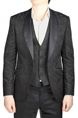 Mens wedding dress black pattern, blazer unfastened,  waistcoat, white shirt, without tie, isolated over white.