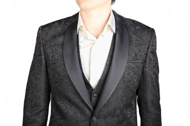 Closeup black pattern wedding suits blazer groom, isolated on on white.