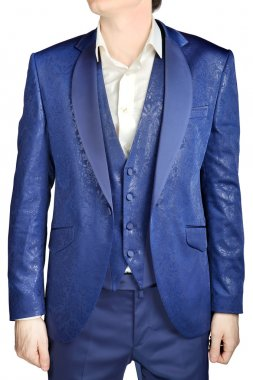 With blue vegetable patterned jacquard, unfastened suit coat wedding groom