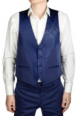 Blue vegetable patterned jacquard waistcoat for mens wedding suit groom