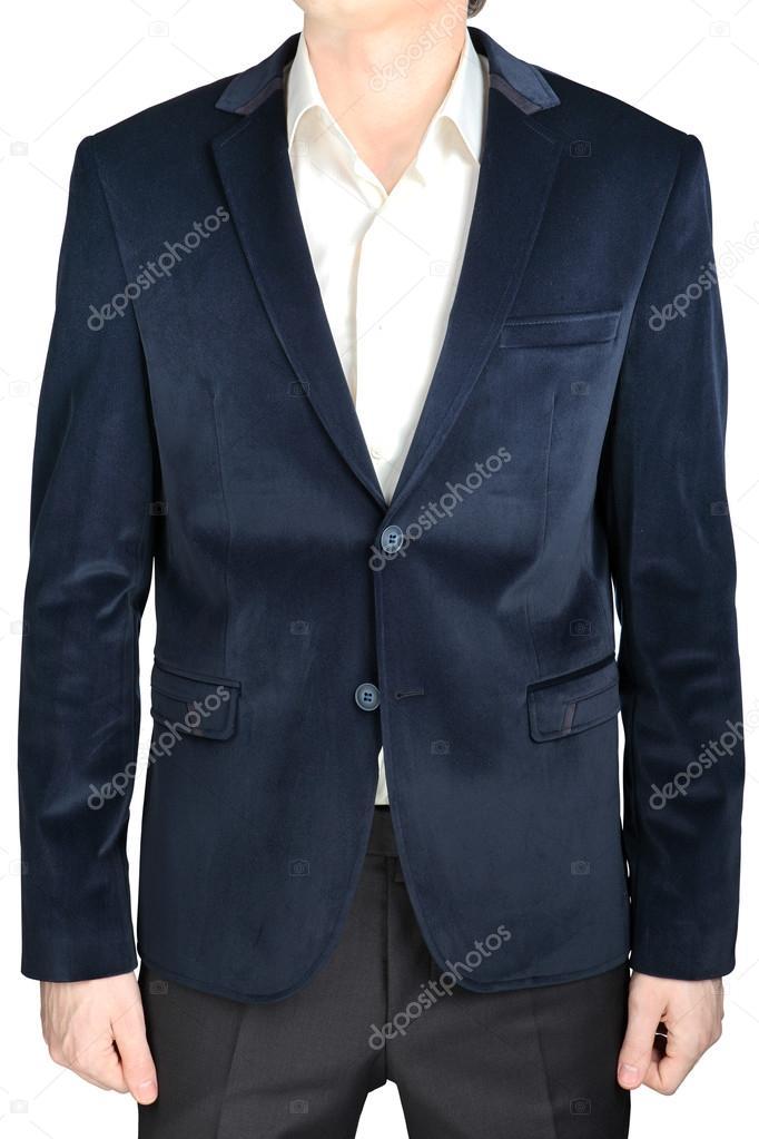 Velvet Blazer Wedding Groom Suit Jacket Navy Blue On White