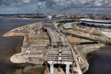 Cable-stayed bridge across Malaya Neva River during construction