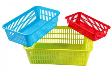 Three set colors and sizes plastic boxes for household storage