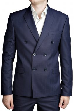 Double-breasted mens suit jacket with dark blue small checkered pattern.