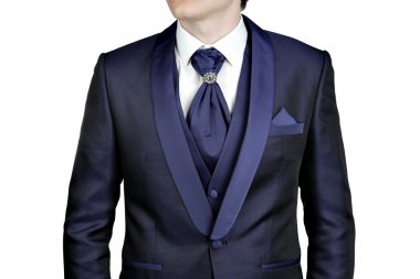 Dark blue men suit, wedding or evening, waistcoat, shirt, plastron.