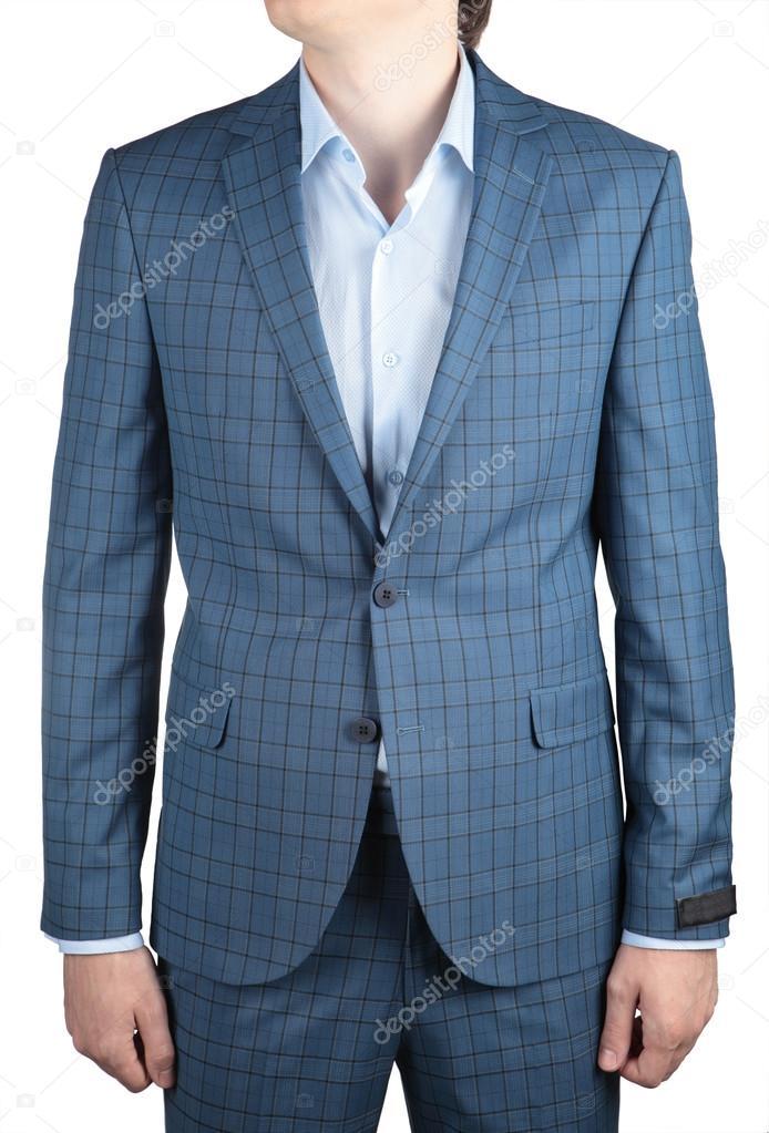 a935ac7c6f Elegáns divat könnyű kék kockás öltöny zakó, férfi esküvői ruha– stock kép