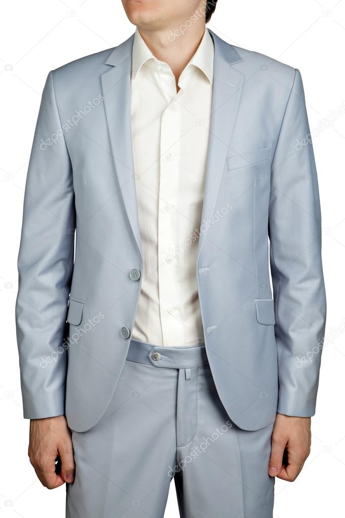 Mens Prom dress suit, Light Blue Pastel blazer and trousers. — Stock ...