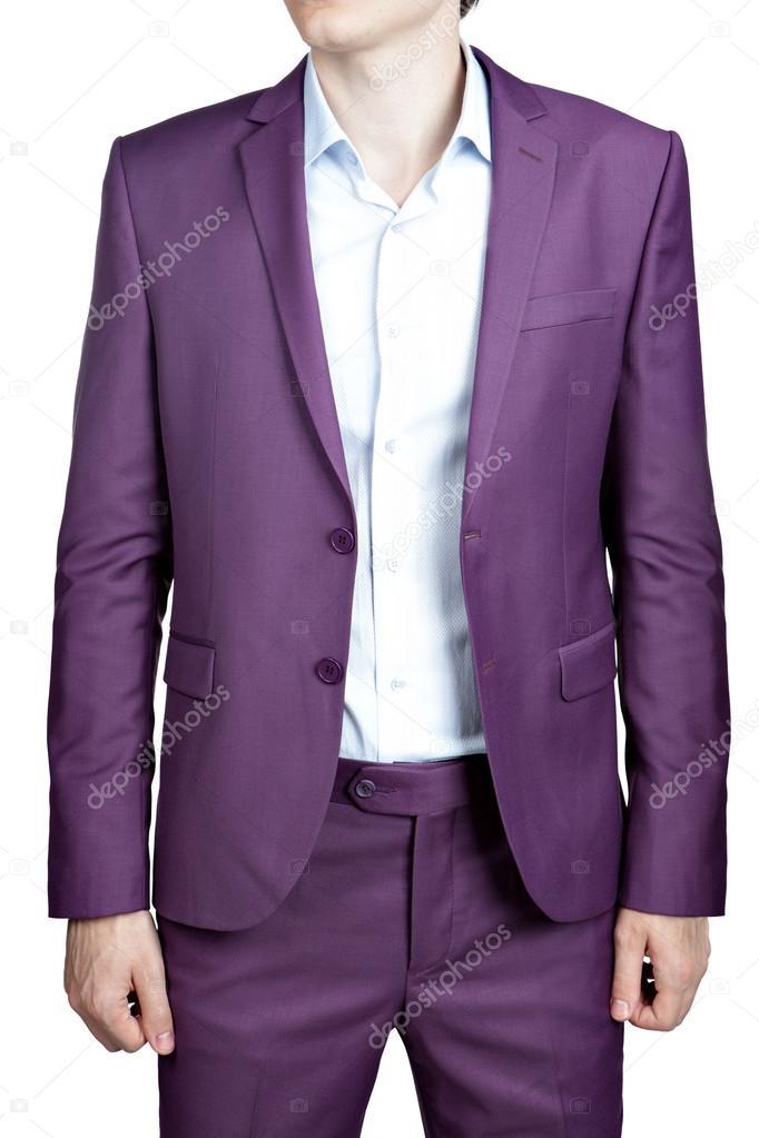 Traje para hombre púrpura de la boda, blazer y pantalones, aislados ...