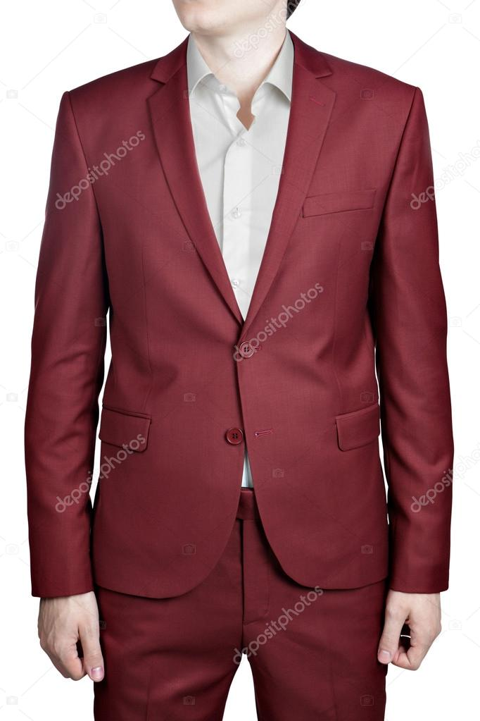Maroon color prom suit for men, isolated on white background ...