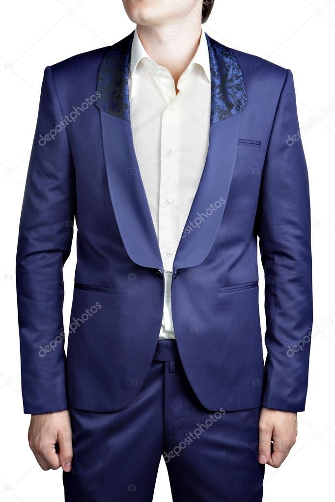 Traje de fiesta azul oscuro para los hombres, sin botones, cierre de ...