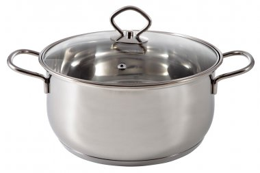 Shiny stainless steel soup pot, covered a lid transparent glass.