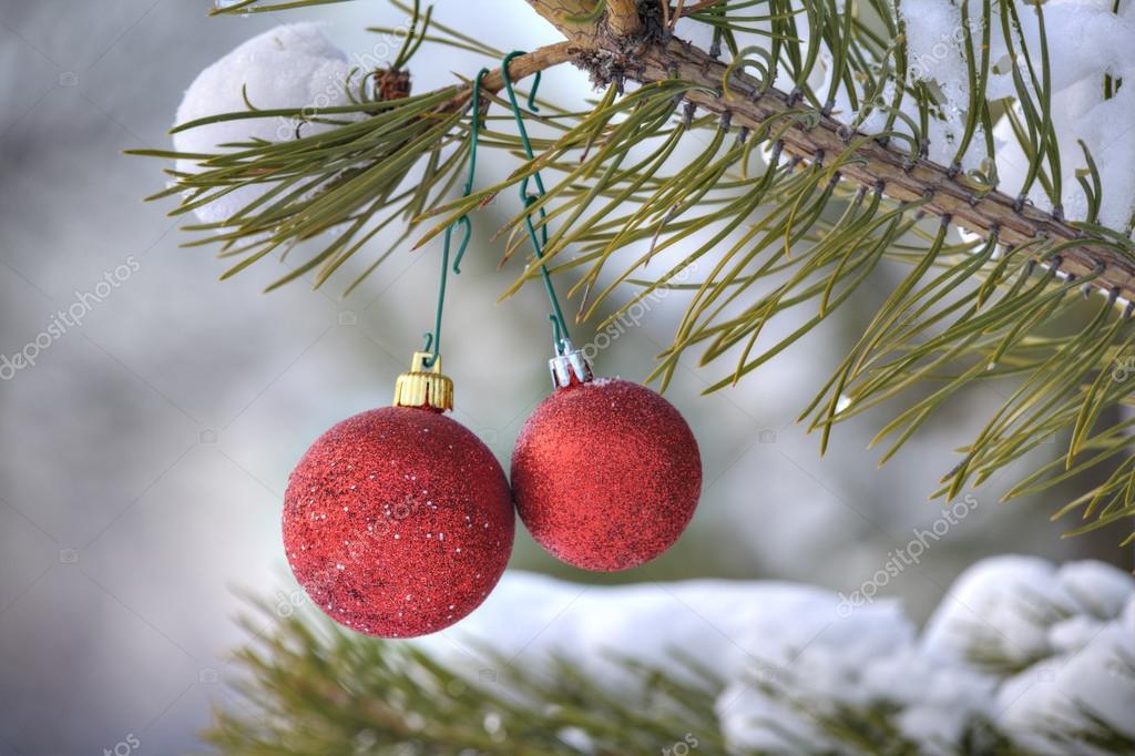 Adornos de rbol de navidad dos bola roja colgando de una for Arbol de navidad con bolas rojas