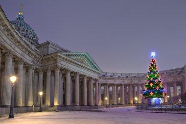 Designers  Outdoor Christmas Tree opposite Kazan Cathedral, Saint Petersburg, Russia.