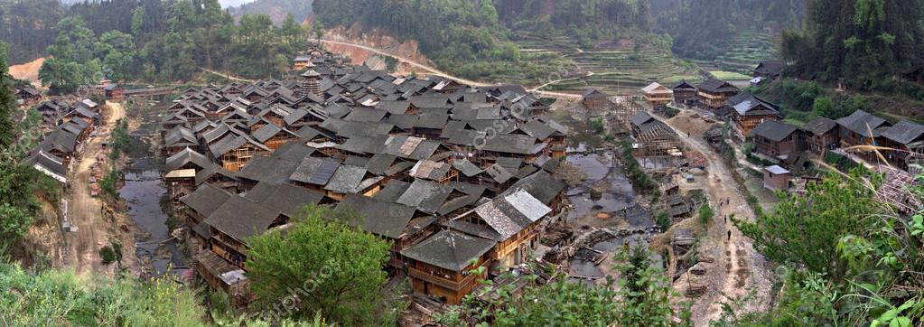Peasant houses village of Dong people ethnic minority, Southwest China.