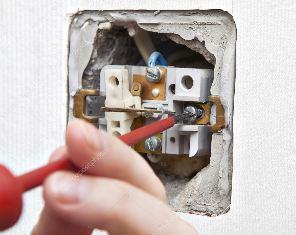 Wiring Old Light Uninstall The Switch Closeup Stock Photo Grigvovan Changing Dismantling A Defective Appliance Close Up By
