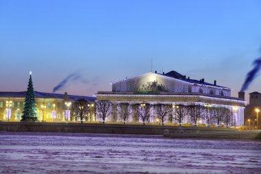 Christmas ornament old stock exchange building, Saint-Petersburg, Russia, winter evening.