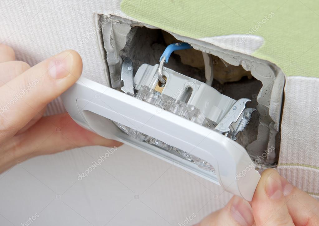Install wall light switch Insert into electrical box — Stock Photo ...