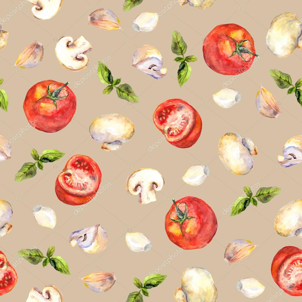 Seamless Wallpaper With Vegetables For Cooking On Beige Background