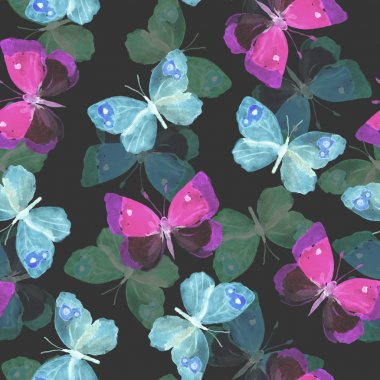 Seamless repeated contrast pattern with transparent shine night butterflie