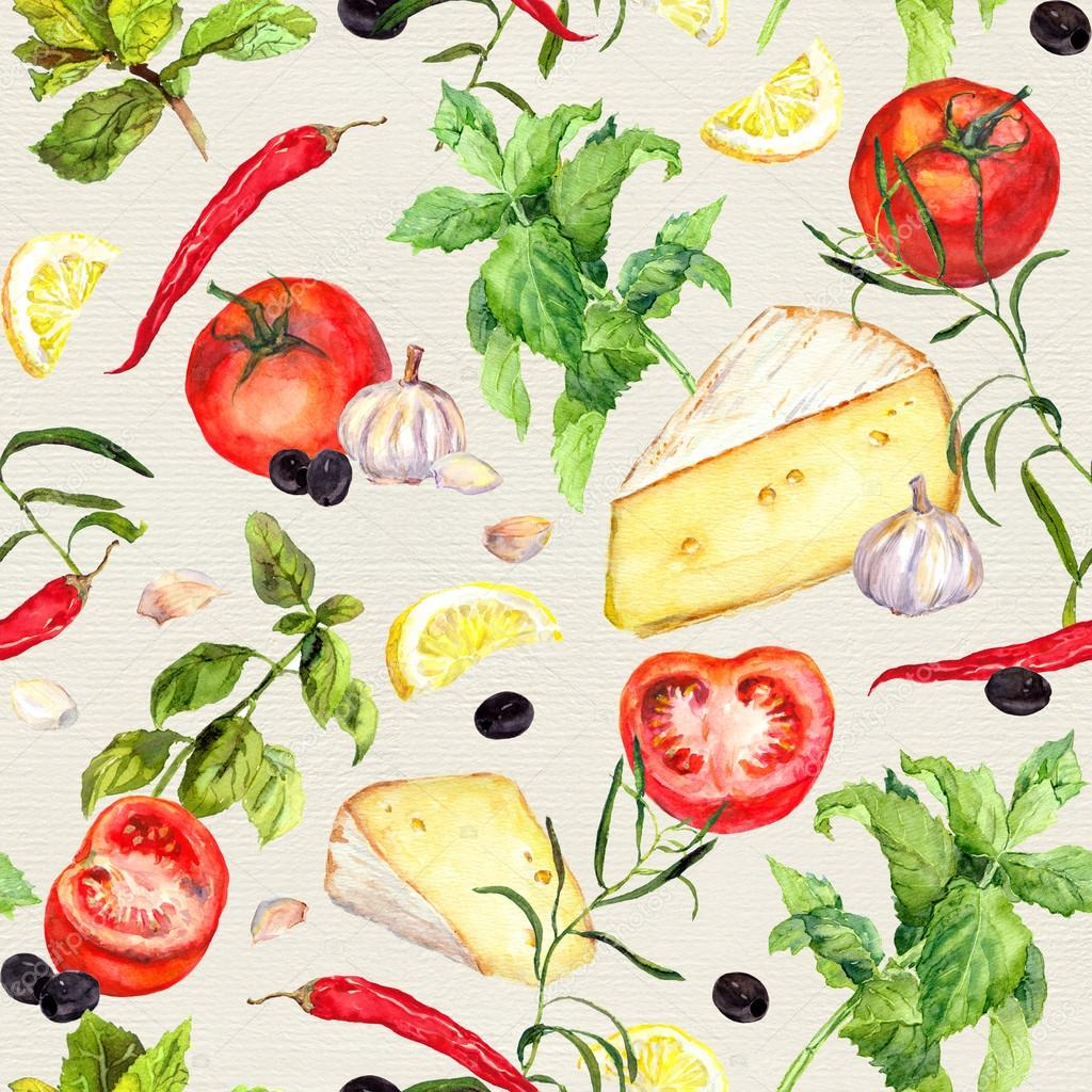 Cooking Pattern Seamless Food Background Watercolor Stock Photo