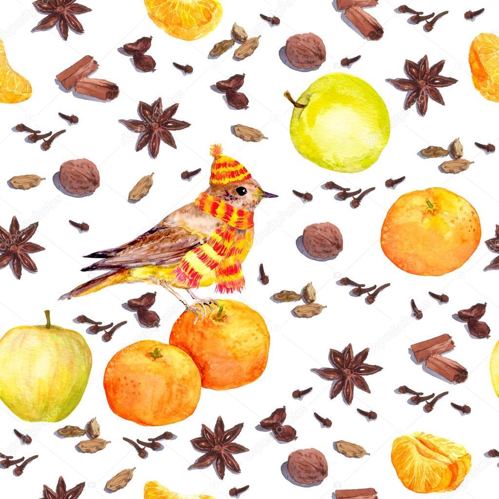 Suluboya Kış Baharat Ve Meyve Elma Mandalina Kuş Ile Stok Foto