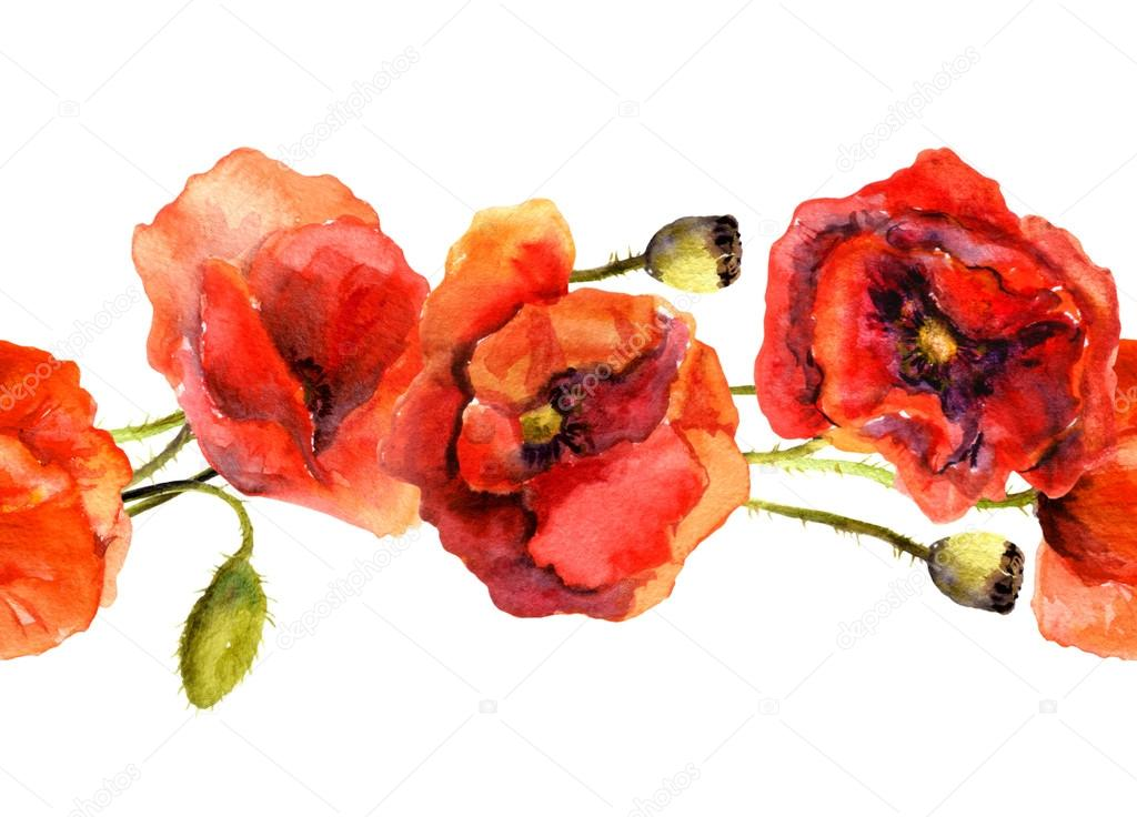 Seamless Floral Border Strip With Red Poppy Flowers Watercolor Painted Art Stock Photo