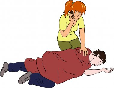 First aid - man unconscious, woman call mobile for help