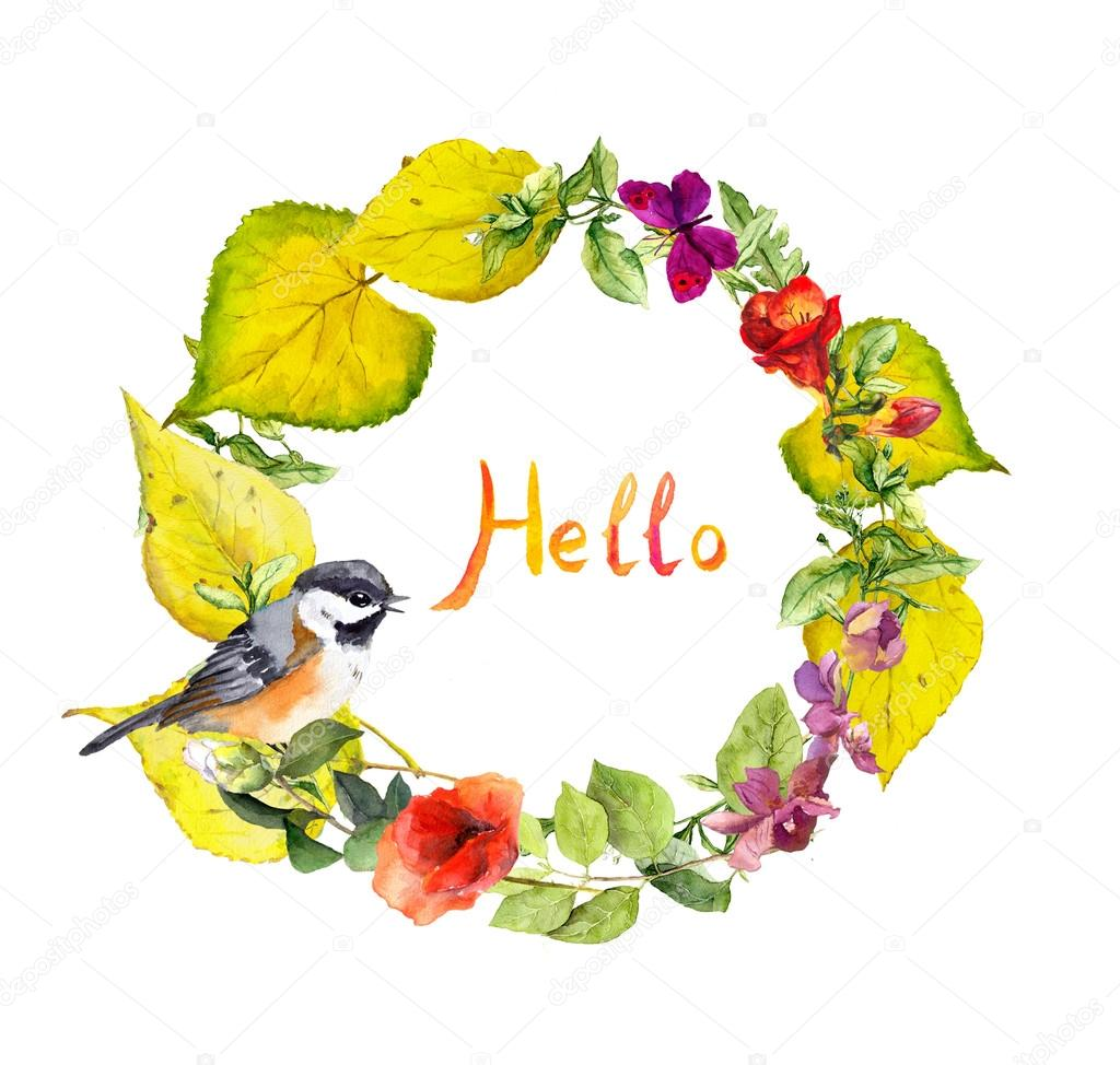 Autumn Wreath Flowers Cute Bird Yellow Leaves Floral